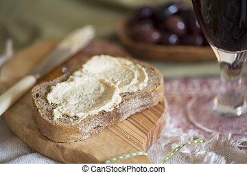 Hummus Spread - Creamy hummus spread on healthy whole wheat...