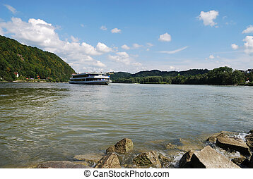 Passau - A ship in Passau Germany, Bavaria where the rivers...