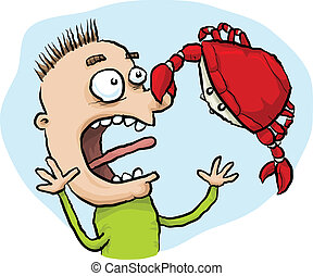 Crab Pinch - A cartoon crab pinches a man on the nose.