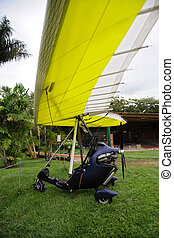 Ultralight trike parked on the grass