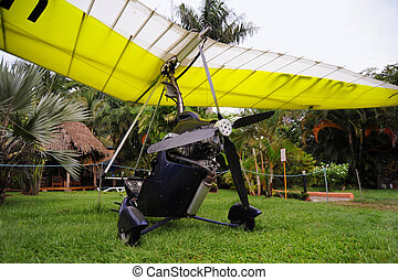 Ultralight trike parked grass