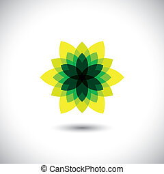 green flower icon made of illusory & fantasy leaves - eco concept vector. This graphic also represents ecological balance, sustainable development, magic or maya, illusion & deception