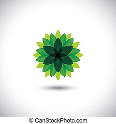 green flower icon of leaves in stylized pattern - eco concept vector. This graphic also represents ecological balance, evergreen forests, sustainable development, balance in nature