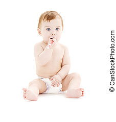 baby boy in diaper with toothbrush - picture of baby boy in...