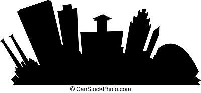 Cartoon Spokane - Cartoon skyline silhouette of the city of...