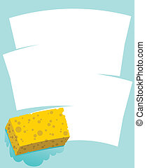 Sponge Wipe - A cartoon sponge wiping a blank space