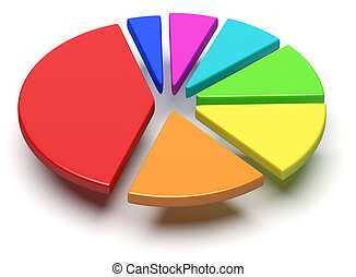 Colorful pie chart with flying separated segments