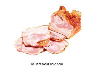 Meat sliced isolated on white background