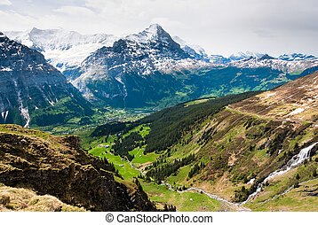 Grindelwald valley and Eiger - scenic view over grindelwald...