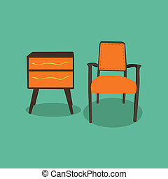 Retro furniture,vector