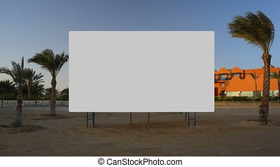 Screen on the beach - White screen on the beach for movies...