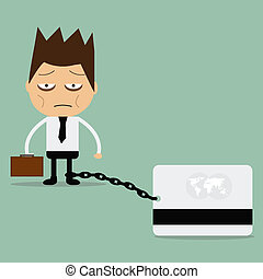 Business man burden with credit card