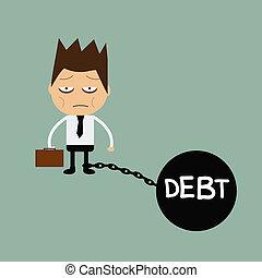 Business man burden with Debt