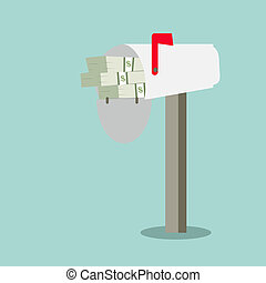red mailbox American money and flag isolated over white