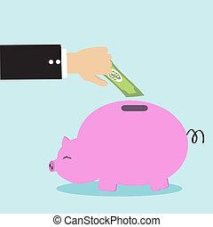 Piggy bank vector cartoon