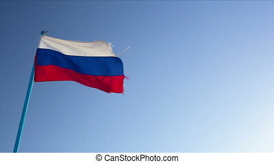 Russian and German flags - Dolly shot of Russian and German...
