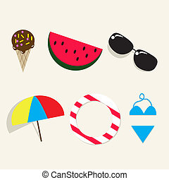 Summer icons sign, ice cream, watermelon,sunglasses,...