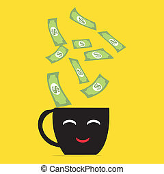 Money falling on coffee cup.