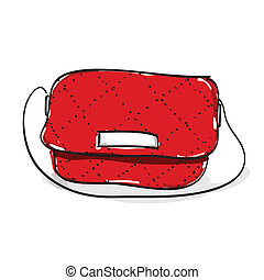 Hand drawn woman red shoulder leather bag on white...