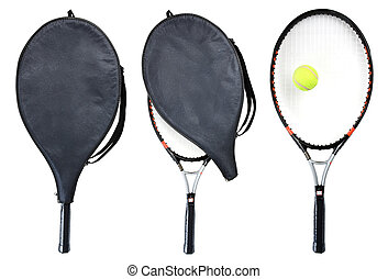Racket - Three tennis rackets isolated on white. Clipping...