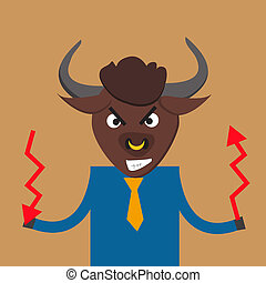 Metaphore of strong businessman with bull head