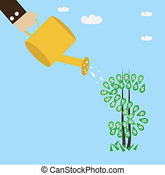 Orange can splashing money tree, money concept.