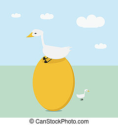 Goose sitting on a very large golden egg,money concept -...