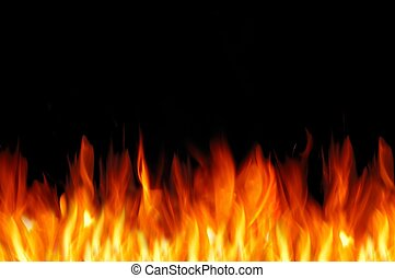Fire wall - Bright fire wall on the black background. Free...