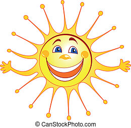 Happy sun cartoon vector