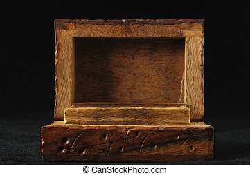 Handmade Ancient Vintage Wood Box on a Black Background