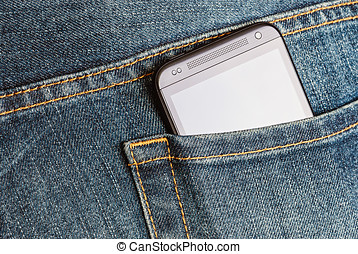 HTC Mobile Phone in a jeans pocket - Moscow, Russia - March...