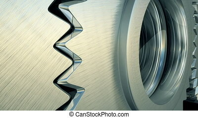 Rotating gears close up.