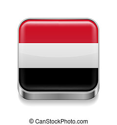 Metal icon of Yemen - Metal square icon with Yemeni flag...
