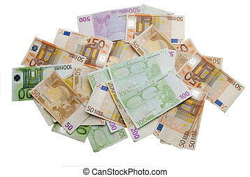 Euro bills on white background,recorded above them.