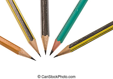 pencil - stationery series: close up of five encil over...