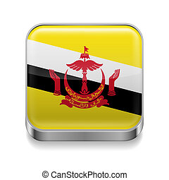 Metal icon of Brunei - Metal square icon with flag colors of...