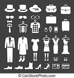 habillement, Magasin, achats, icône, vecteur
