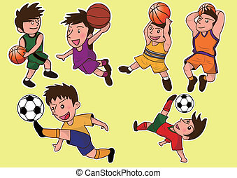 cartoon cute soccer and basketball
