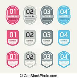 numerado, ser, gráfico, esquema, etiquetas, modernos,  /, site Web,  vector/horizontal, usado, desenho, lata,  infographics, bandeiras, ou