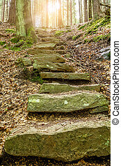Stone staircase leading up with sunlight - Stone staircase...