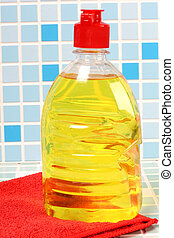 Cleaning bottle on tile - Protective and cleaning products...
