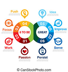 8 to be great infographic Success way concept Can be used...