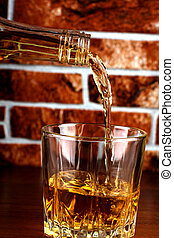 Whiskey glass on brick - Luxury old whiskey glass on brick...