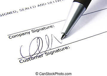 Contract signing 2 - Detail view of the signature box of a...
