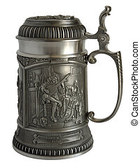 Pewter beer tankard with bas-relief - Pewter beer tankard...