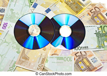 Compact Disks with euros below them,on white background