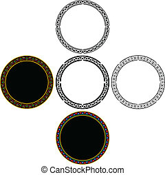 set of mayan circles vector illustration