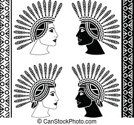 set of mayan woman profiles vector illustration