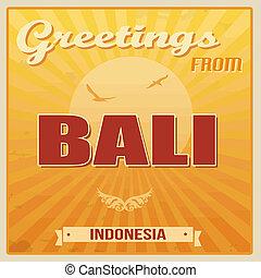 Bali vintage poster - Vintage Touristic Greeting Card -...