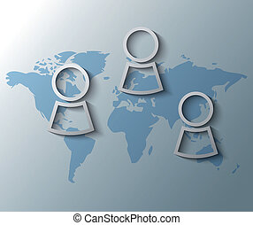 Illustration of persons with world map background